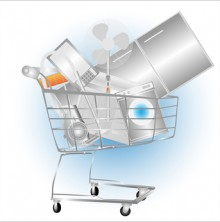 Electrical household appliances on the cart